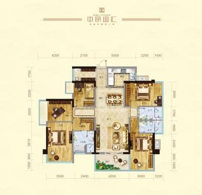 中昂国汇171㎡五房两厅三卫户型图