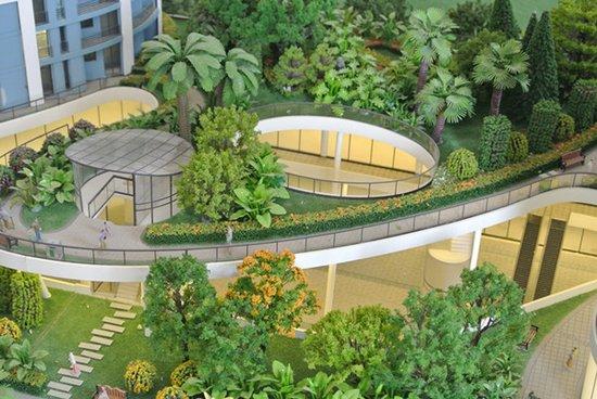 共三层立体呈现;一是层层打造空中花园;二是地面园林则通过坡道,台阶图片