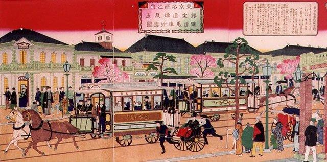 明治时代的日本街市图