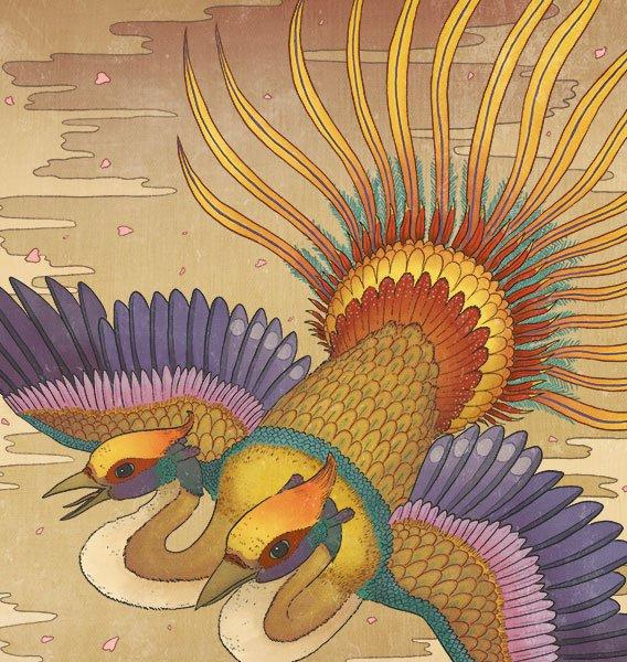 """共命鸟,梵音称""""耆婆耆婆迦""""(Jivajivaka)"""