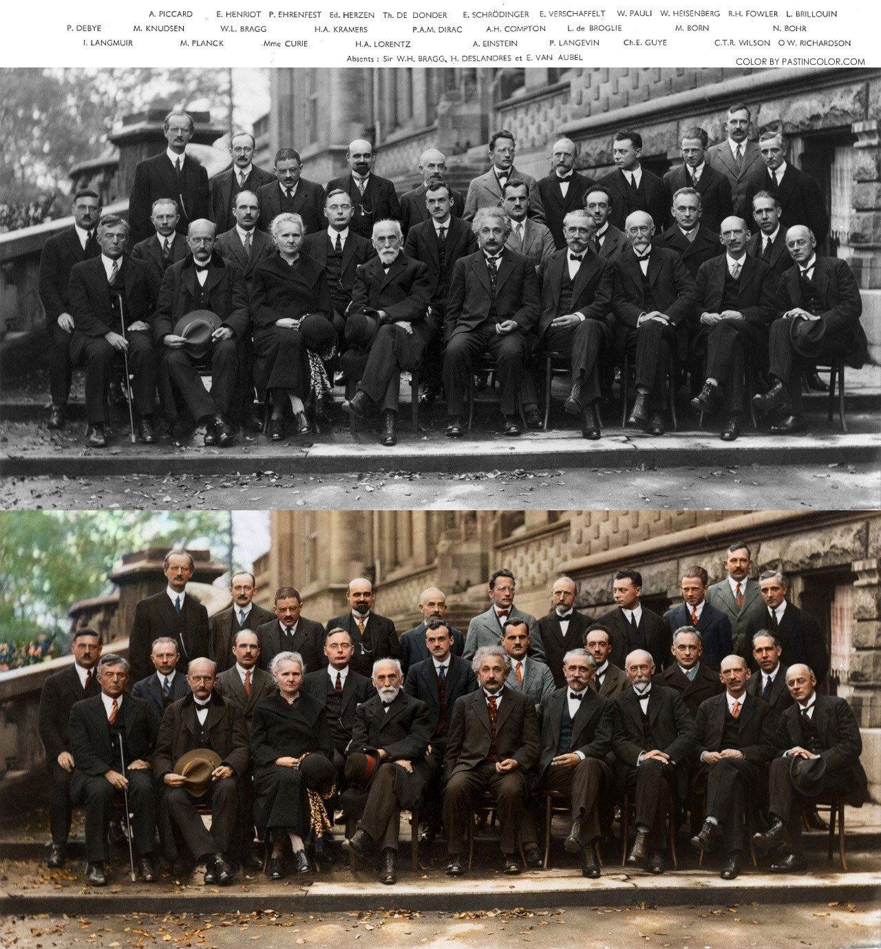 图1、1927索尔维会议(SolvayConference,史上最牛物理学盛会)合影。下图为上色版