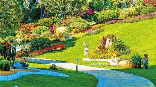 """精心造景,把园林设计大师梁国坤先生所独创的""""高尔夫立体园林""""运用到"""