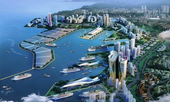 而胶州湾大桥,环湾大道将邮轮母港城与胶州湾北岸城市相连,胶州湾东