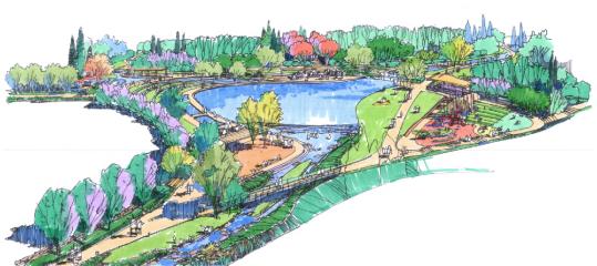 西湖景观平面图手绘图