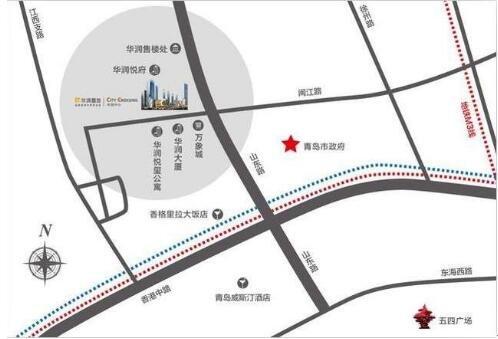 项目地址:青岛市政府西200米(香格里拉北侧) 注:以上涉及面积均为