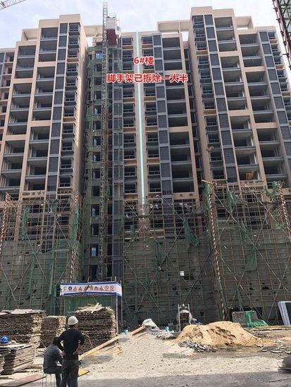 金色公馆5月工程进度 8#、9#楼在贴外墙瓷砖