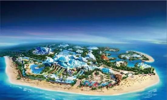 由六大版块会议酒店,童话乐园,海上乐园,时尚商业,海岛度假,生态景观