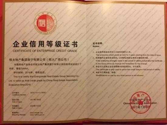 恒大地产广西公司获评AAA信用等级 显强劲实力