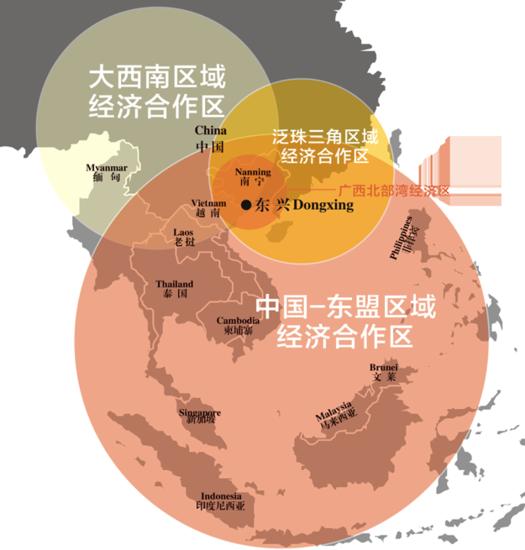 东兴区位示意图(图片来源网络) 东兴 看得到的未来 2013年,东盟启动与中日韩澳新印(10+6)的RCEP谈判后,中国和东盟与相关国家的经贸关系更加密切。 2015年中国-东盟博览会的影响力,已经突破了11国的范围,从10+1向10+6延伸,吸引了越来越多区域外国家的参与。 2015年,伴随着一带一路建设走向国际舞台,中国与包括韩国在内的周边国家经济持续发展、实现互利共赢、打造命运共同体再次获得难得的历史好机遇,借助独特的地理区位优势和新丝路建设的机遇,东兴面对的机遇对沿线地市更具深远意义。