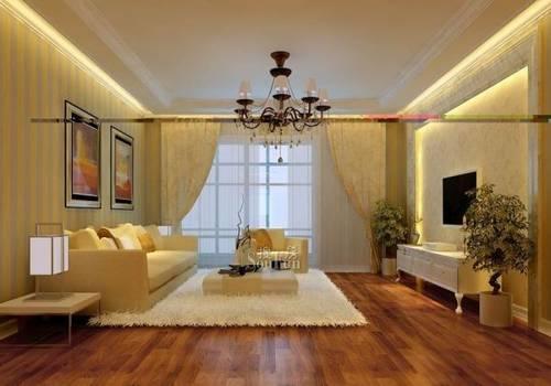 小户型客厅装修木质地板和布艺沙发增加客厅温馨的感觉,没有过图片