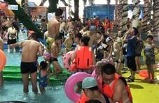 市民扎堆戏水降温  泳池里犹如下饺子