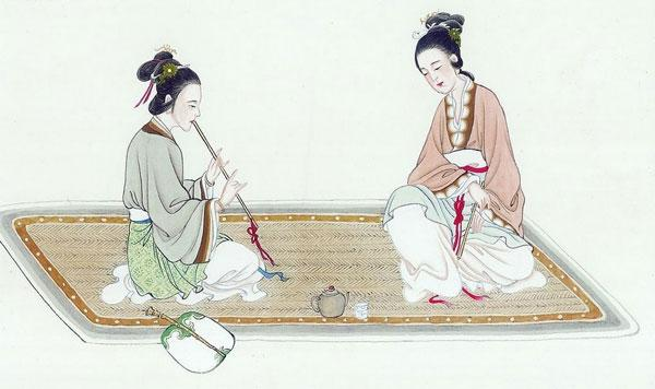 古代美女看书手绘
