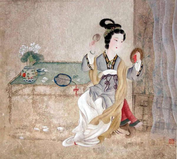 古代女子梳妆图