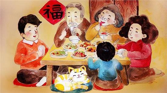 工商之家清结账项,开始团年,吃了团年饭就把伙计,徒弟放回家过年去了.图片
