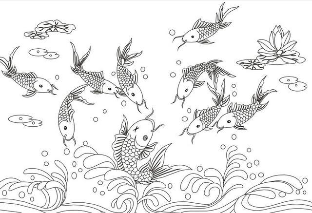 鱼的平面手绘