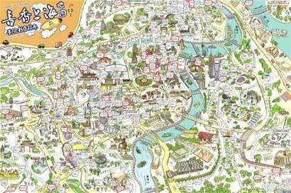 手绘地图囊括上海300多个书城,书店和文化场所