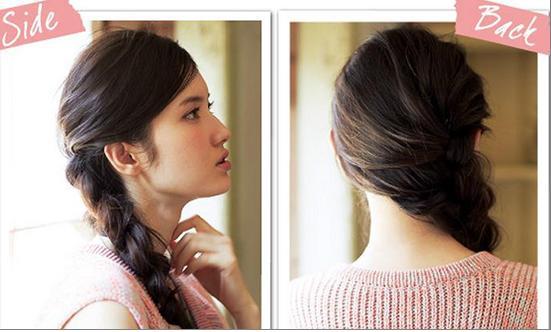 淑女马尾侧编发:在一侧增加发量,可以增加饼脸的立体线条,为侧脸制造