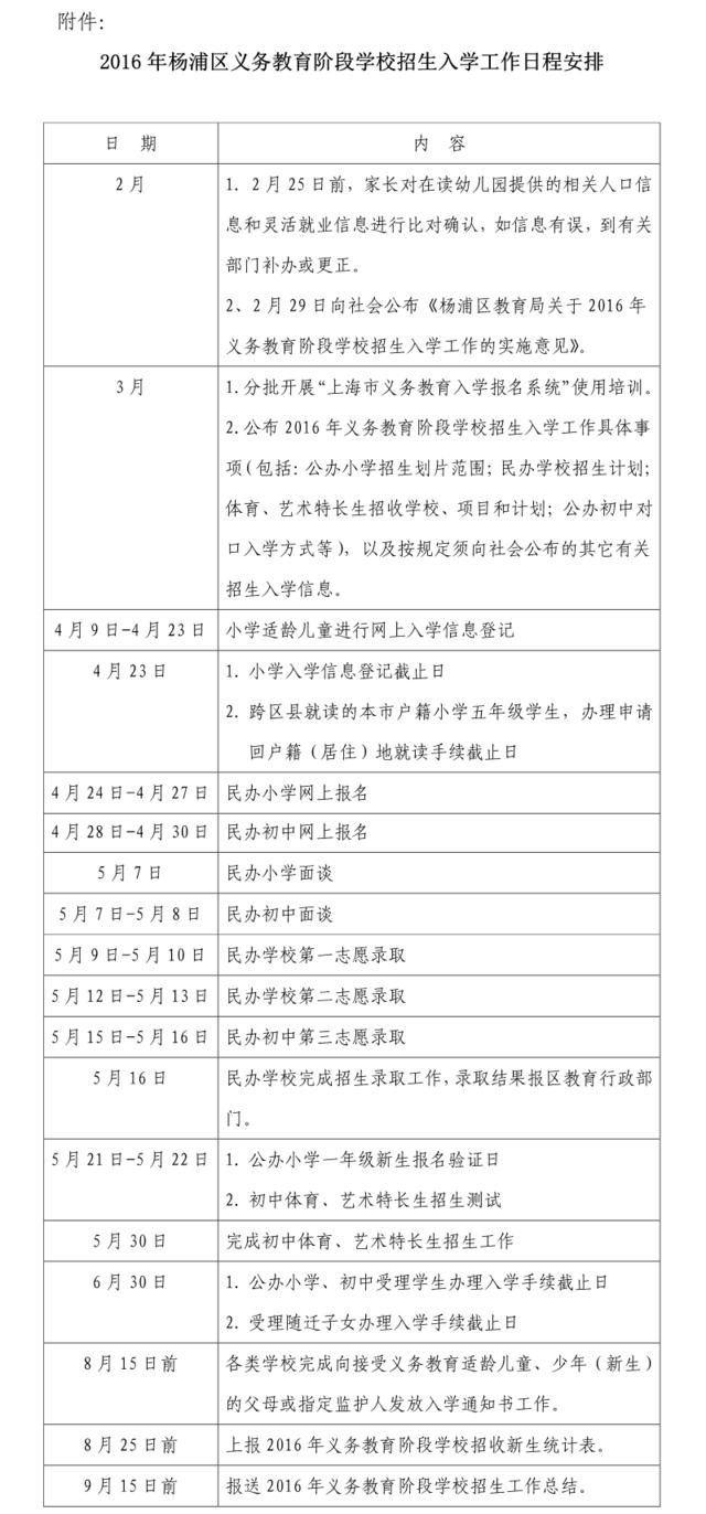 杨浦区2016年义务教育阶段学校招生入学工作实施意见
