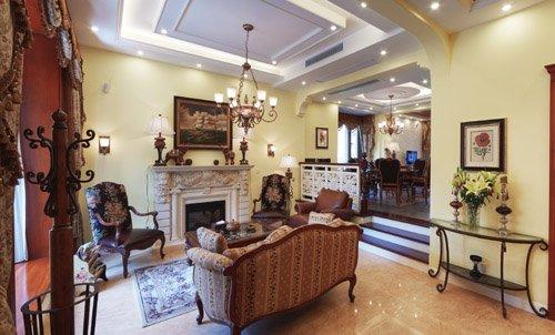 别墅-310㎡-客厅装修效果图;