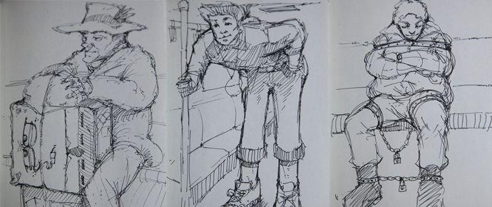 手绘地铁室内图片线稿