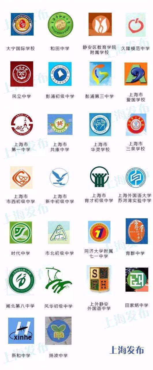 沪上这383所母校的初中,自考你的校徽?找到初中生能图片