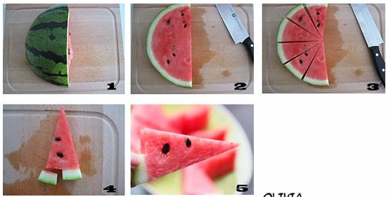 西瓜果盘的优雅切法图片