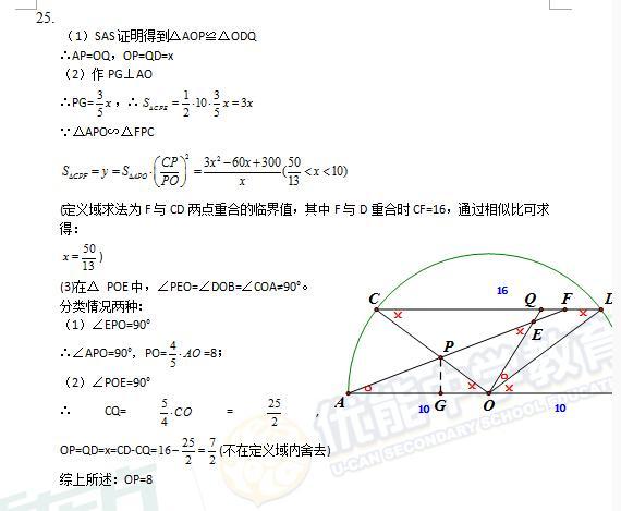2015年上海中考数学答案