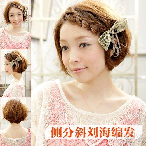 时尚 美容 正文  甜美的斜刘海短发编发,简单的在额前用侧分的刘海编
