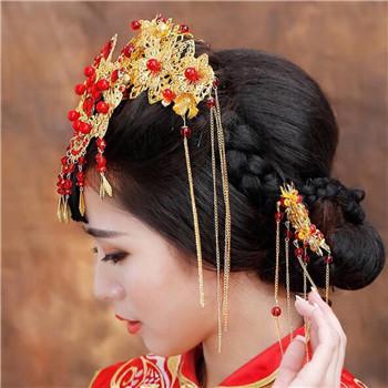 夏季中式婚礼新娘发型图片 新娘发型推荐_大申网_腾讯图片