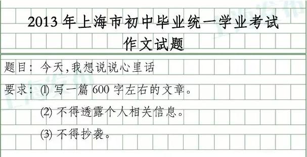 上海中考历年作文题(2003-2015年)