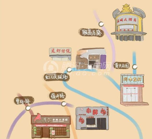 """""""吃货""""网友手绘上海龙虾地图"""