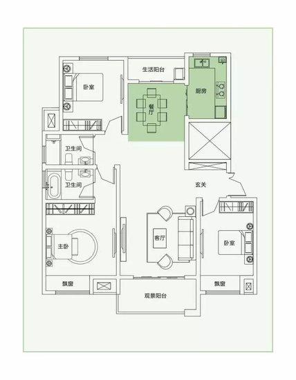 135㎡水韵三房,归家亦是人生大境
