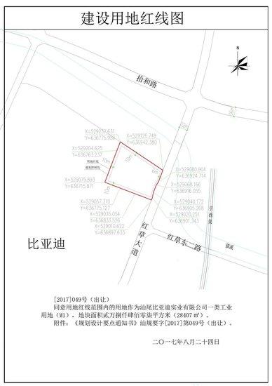 汕尾比亚迪实业有限公司建设用地规划许可批前公示