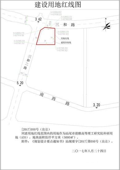 汕尾市前瞻高等理工研究院建设用地规划许可批前公示