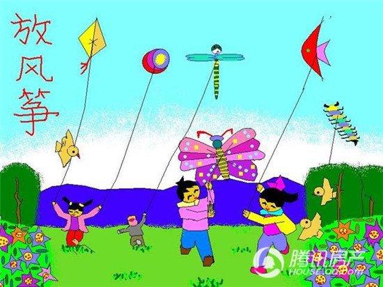 放风筝一年级曰记_小学一驷马放风筝作文年级自缚视频教学图片