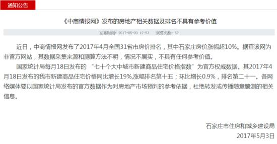 官方辟谣:某网站发布石家庄房价涨幅超10%消息不实