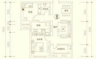 B户型 两室两厅一卫84.29平