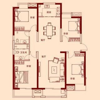 四室两厅两卫169.75平F户型