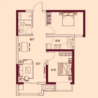 B1户型 两室两厅一卫70.19平