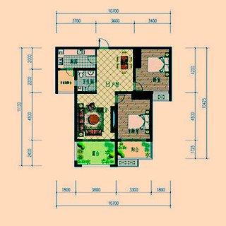 B户型二室两厅一卫约97.27平