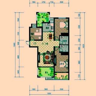 A#户型三室两厅两卫约124.95平