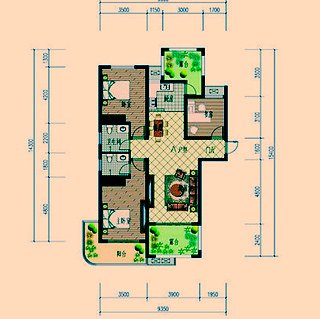 A户型三室两厅两卫约127.34平