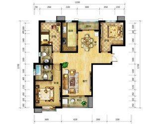 94平两室两厅一卫客厅