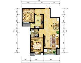94平两室两厅一卫卧室
