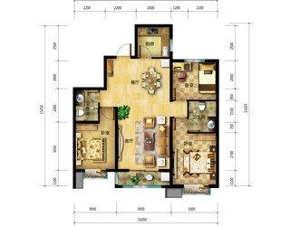 紫晶悦城126平三室两厅两卫卧室