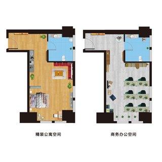 汉和熙地精装公寓56平米户型图