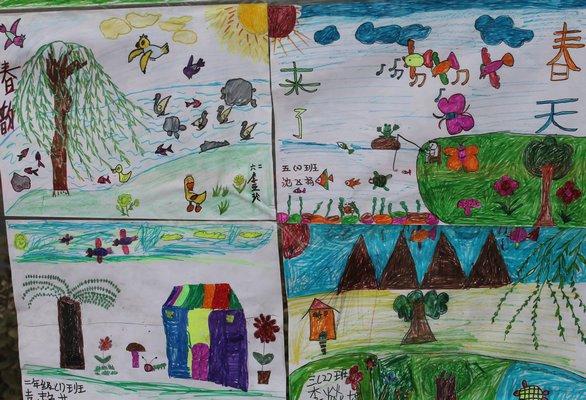 校园一角儿童画分享展示图片