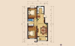 洋房两室两厅一卫户型96平