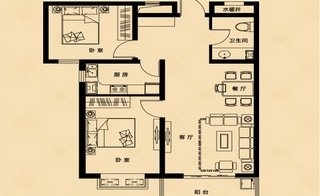 F户型 约96�O 2室2厅1卫