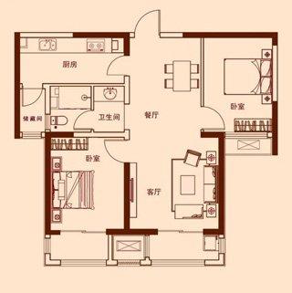 两室两厅一卫81.20平K户型